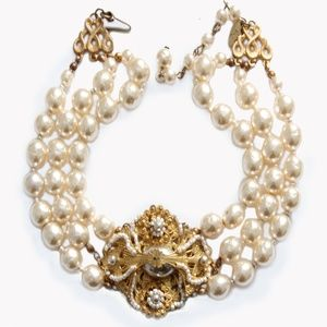 Miriam Haskell Baroque Pearl Choker Necklace VTG